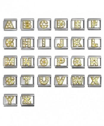 Rhinestone Alphabet Letter Italian Charms 9 mm Stainless Steel Bracelet Link - Choose Letters - C212N7Z86V8