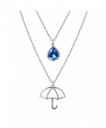 "925 Sterling Silver Double Layered Teardrop Umbrella Chain Necklace for Women Jewelry- 18"" - CS187CUYZL6"