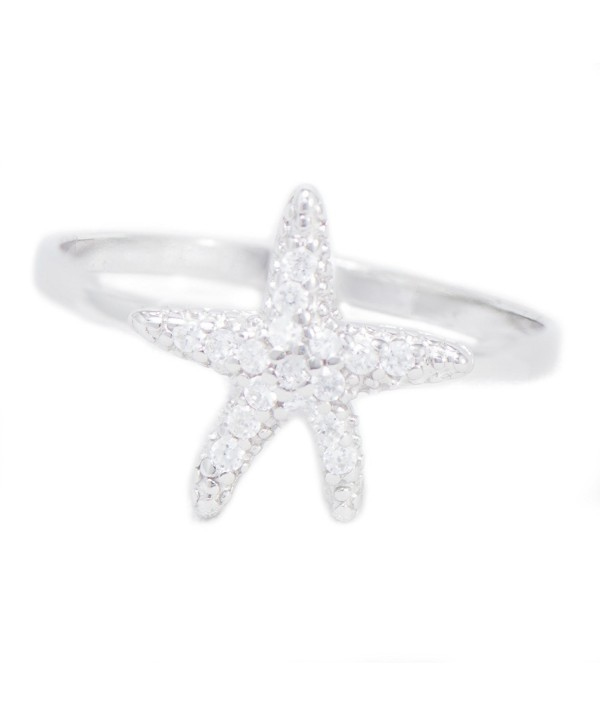Starfish Pave Cz Sterling Silver Sea Star Ring Band - CV11KQXRBTL