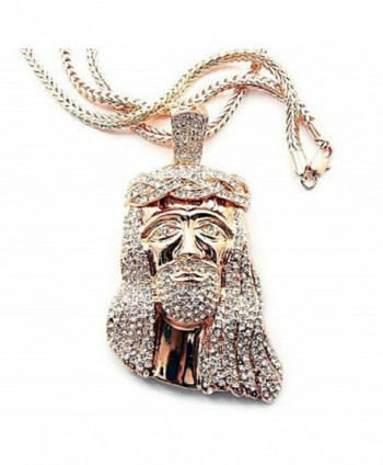 Rose Goldtone with Clear Iced Out Jesus Piece Pendant with a 36 Inch Franco Chain (C-479) - C0110PODTUV