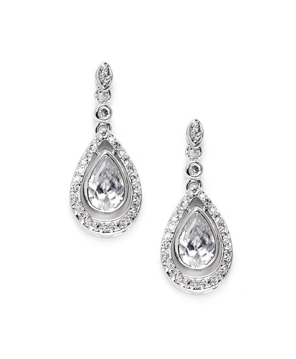 Mariell Victorian Cubic Zirconia Teardrop Bridal or Formal Earrings with Gorgeous Vintage Bezel Setting - CG12305Q2FZ