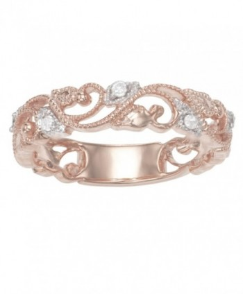 Sterling Silver 1/10 CTTW Diamond Ring plated in Rose Gold/ Rhodium/ Yellow Gold - rose-gold-plated-silver - CM129IBT3S3
