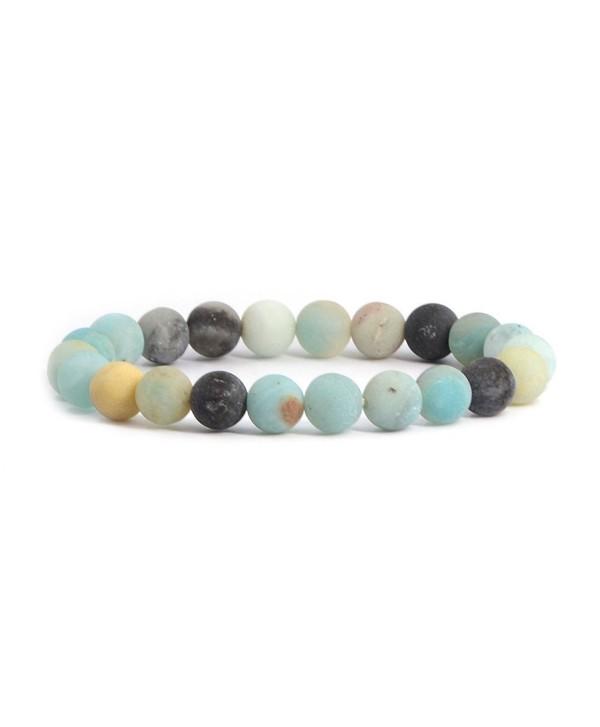Natural Multicolor Amazonite Gemstone Bracelet - Matt Multicolor Amazonite - C712EVD6F1V