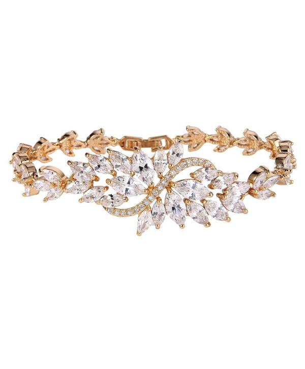 EVER FAITH Women's Cubic Zirconia Wave Marquise Shape Leaf Tennis Bracelet - Clear Gold-Tone - CT12LMZQ1IN