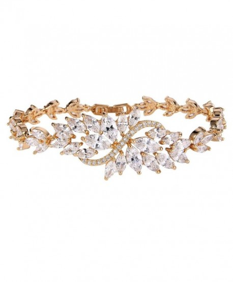 EVER FAITH Women's Cubic Zirconia Wave Marquise Shape Leaf Tennis Bracelet - Clear Gold-Tone - CT12LMZQ1IN
