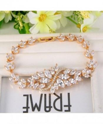 EVER FAITH Zirconia Marquise Gold Tone in Women's Tennis Bracelets