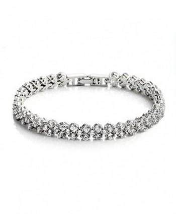 Sephla Fashion Jewelry Super Sperkle Crystal Heart Shape Link Rome Bracelet - C8126JJDCVV