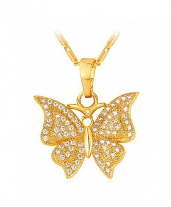 Women Girls Diamond-accented Platinum Plated Butterfly Pendant Necklace - Gold - C012NV1ICEN