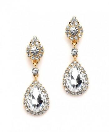 Mariell Gold Teardrop Austrian Crystal Dangle Chandelier Earrings for Bridal- Prom- Pageant & Weddings - C412EM3HQAD