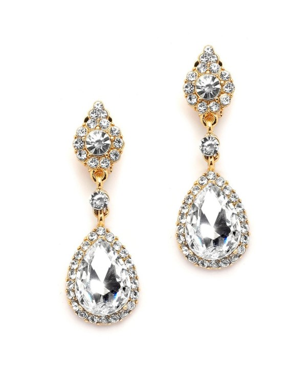 Mariell Gold Teardrop Austrian Crystal Dangle Chandelier Earrings for Bridal- Prom- Pageant & Weddings - C412EM3HQAD