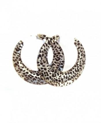 Leopard Spot Hoop Earrings Silver Leopard Spot Hoops 2.5 Inch Hoops - CZ125J69C91