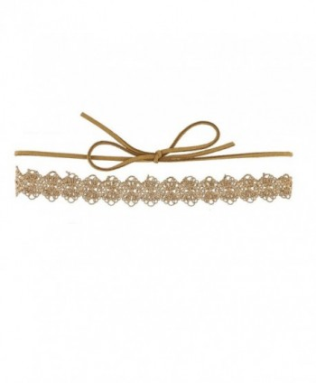 Lux Accessories Trendy Tan Lace Embroidered Suede Wrap Choker Necklace - CR12ODONSPB