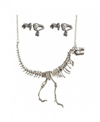 Godyce Short Collar Dinosaur Necklace and Earrings Set for Women - Jewelry With Gift Box - CQ12KN7EP25