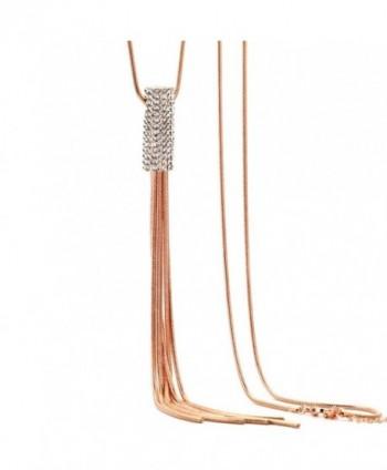 Z-Jeris Women's Fashion Jewelry Simple Tassel Pendant Long Chain Necklace - Rose Gold - C51825NGLYT