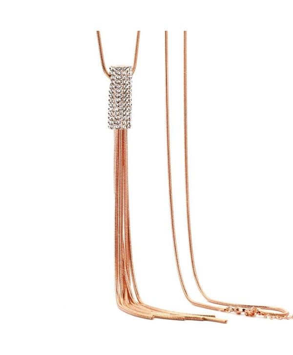 Women's Fashion Jewelry Simple Tassel Pendant Long Chain Necklace - Rose  Gold - C51825NGLYT