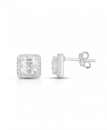925 Sterling Silver Asscher Cut Cubic Zirconia Halo Stud Earrings - CO187CGG9TU