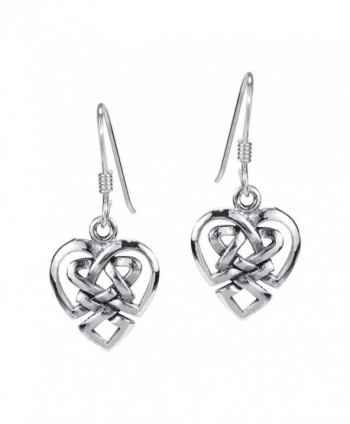 Union of Love Celtic Heart Knot .925 Sterling Silver Earrings - CP11GY99FD1
