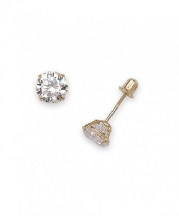14k Yellow Gold Solitaire Round Cubic Zirconia CZ Stud Screw-back Earrings (2mm-7mm) - CS12OBTDBVU
