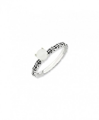 Antiqued SS Stackable White Agate Ring - CQ1188BSJX5