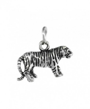 Sterling Silver Tiny Tiger Charm 18 inch Necklace- 3/4 inch - CO111FJ2XHF