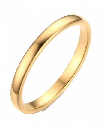 2mm Women's Tungsten Carbide Plain Band Engagement Wedding Ring-Gold Plated-Size 6-11 - CH184C8NU96
