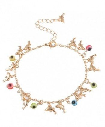 Souarts Gold Color Dolphin Charms Fatima Evil Eye Anklet Chain Foot Jewelry 22cm - CA12HZQO4WX