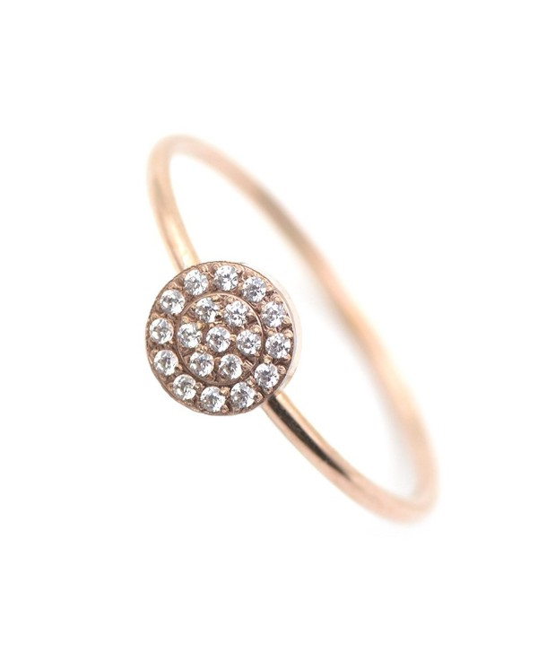 14K Rose Gold Plated Minimalist CZ Simulated Diamond Stacking Circle Disc Stackable Ring - CJ185HOW04M