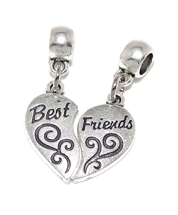 """Pro Jewelry Dangling (2 Piece) """"Best Friends Heart"""" Bead Compatible with European Snake Chain Bracelets - C417YEUS870"""