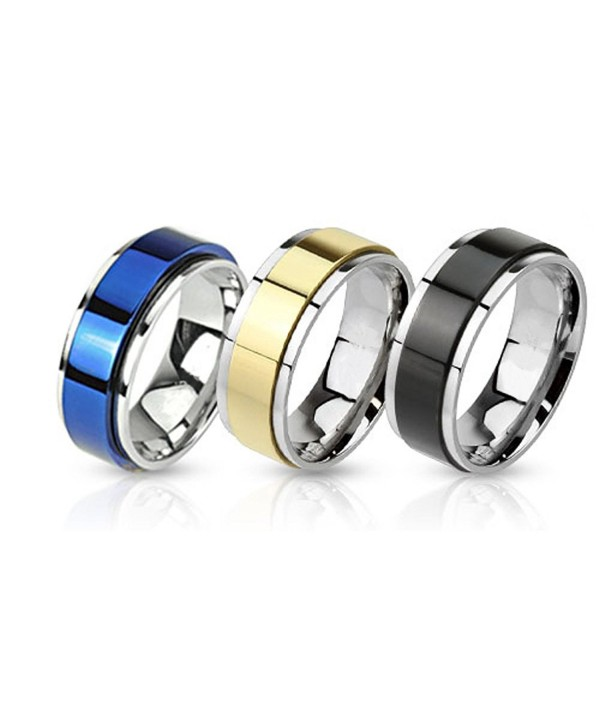 BodyJ4You Ring Set Spinner Bands Stainless Steel Two-Tone Rings - 3 Pieces Value Pack - CR11INB69VT