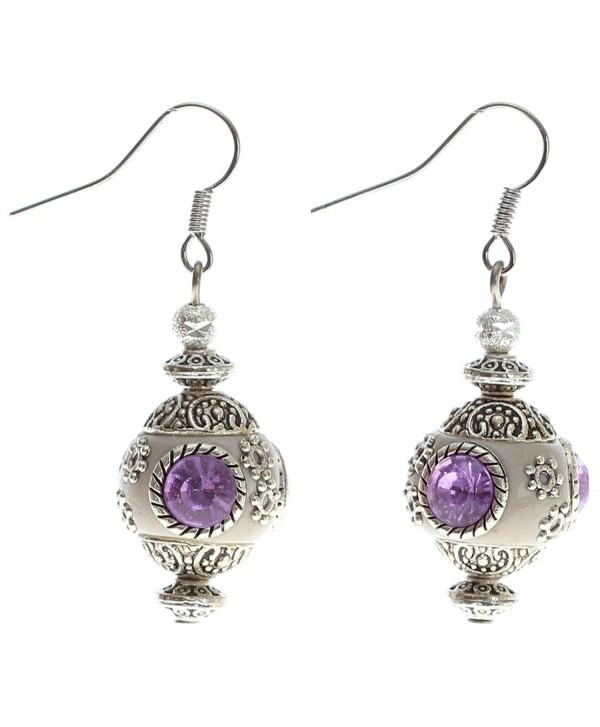 Lova Jewelry Vintage Lilac Stone Earrings - CQ11O5098SN