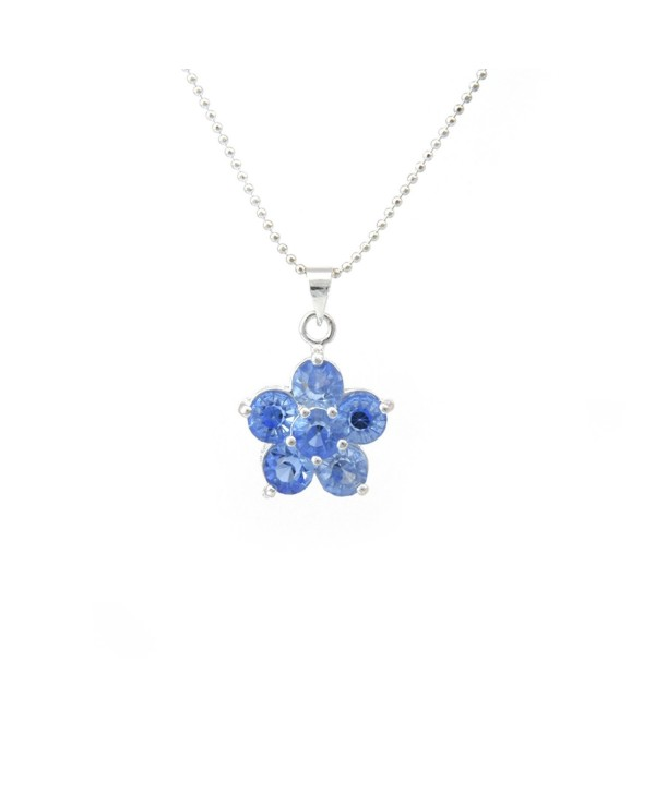 18K White-Gold Plated Necklace Flower CZ Pendant - CP11MH8SSC7