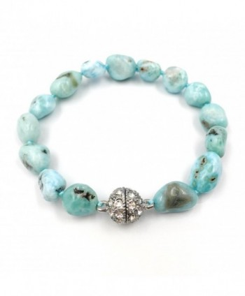 "Natural Stone Larimar Bracelet Crystal Magnet Clasp 7.5"" - CY182WEAX6K"