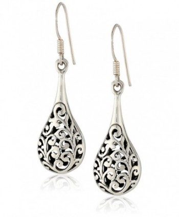 925 Oxidized Sterling Silver Bali Inspired Filigree Puffed Raindrop Dangle Hook Earrings - CK110C925HH