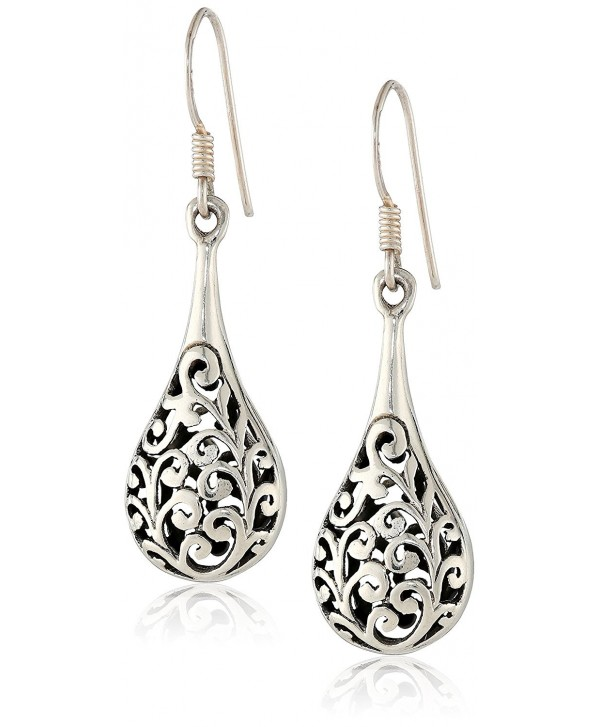 9364eee22 925 Oxidized Sterling Silver Bali Inspired Filigree Puffed Raindrop Dangle  Hook Earrings - CK110C925HH