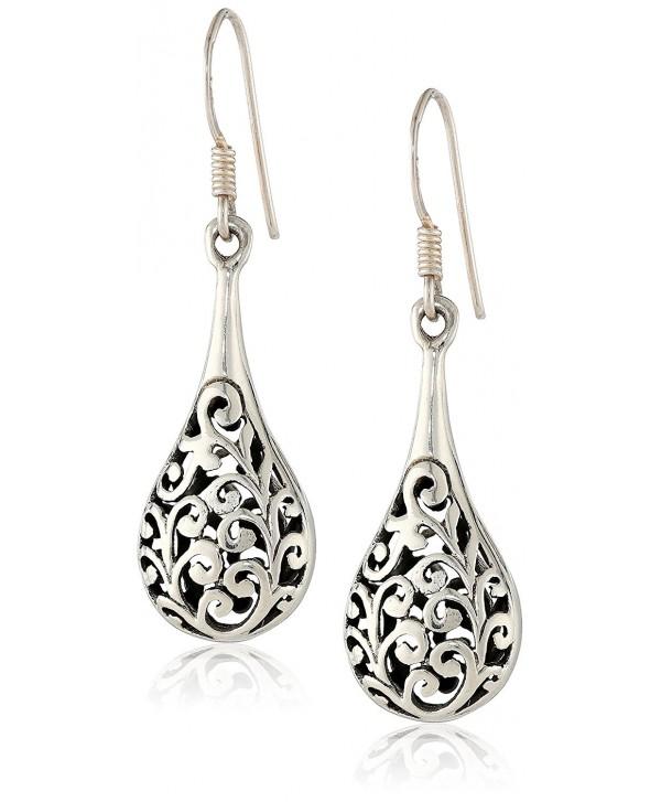 925 Oxidized Sterling Silver Bali Inspired Filigree Puffed Raindrop Dangle Hook Earrings - CK110C925HH