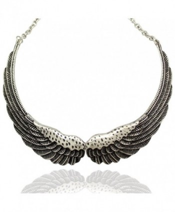 Q&Q Fashion Silver Big Hinged Angel Guardian Wing Statement Chain Collar Choker Bib Necklace - CE11V9DW5Y3
