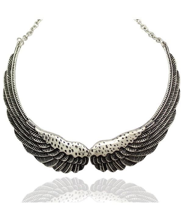 Q&Q Fashion Silver Big Hinged Angel Guardian Wing Statement Chain Collar Choker Bib Necklace - CE11V9DW5Y3