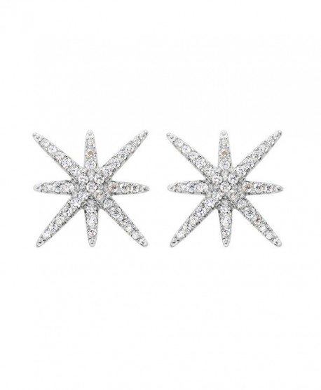 EVER FAITH 925 Sterling Silver Full Cubic Zirconia Winter Snowflake Star Stud Earrings Clear - C81200EUIF9