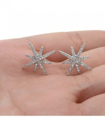 EVER FAITH Sterling Zirconia Snowflake in Women's Stud Earrings