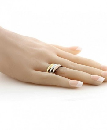 Stainless Steel Yellow Silver Tri Color in Women's Band Rings
