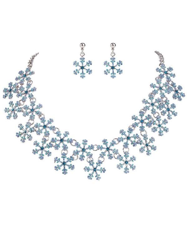 EVER FAITH Lots Snowflake Austrian Crystal Necklace Earrings Set - Silver-Tone-Blue - CH12NRGQO70