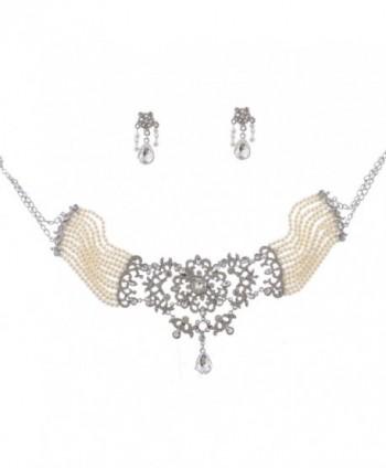 Rhodium Crystal Rhinestone Faux Pearl Choker Necklace Dangle Earrings Bridal Jewelry Set - CA11TN36APP