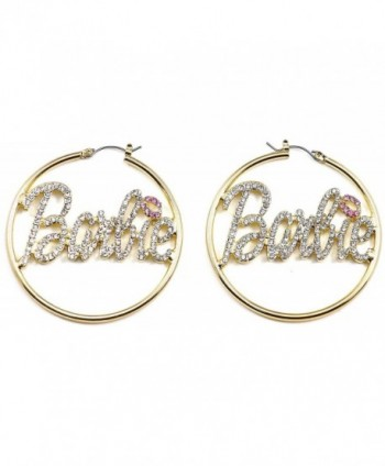 Gold Color Large Hoop Pin Catch Barbie Earrings With Pink Lips - C2119HIR30X