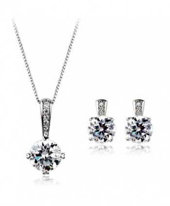 Sparkling Star Swarovski Elements Cubic Zirconia Crystal Pendant & Earrings Set White Gold Plated - CV11QLKQ9QT