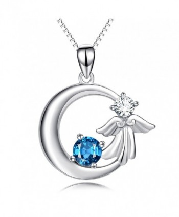 "YFN 925 Sterling Silver Angel Wings Crescent with Blue Crystal Pendant 18"" Necklace - CR184Q758N9"
