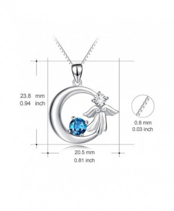 YFN Sterling Crescent Crystal Necklace in Women's Pendants