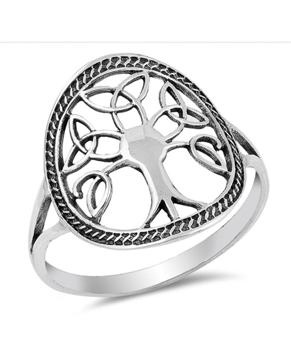 Oxidized Celtic Knot Tree of Life Filigree Ring Sterling Silver Band Sizes 5-10 - CG182YLQ7SI