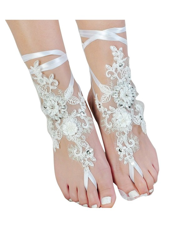 Lace Barefoot Sandals-Beach Wedding Anklet-Sexy Jewelry-Wedding Shoes With Sparkle Sequins - CQ12EZ0O0HL
