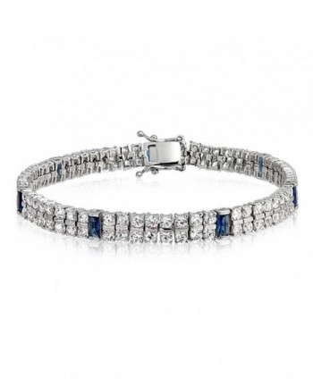 Bling Jewelry Simulated Sapphire CZ 2 Row Tennis Bracelet Rhodium Plated - CF11B9MU1S1