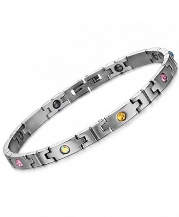 Elegant Sleek Titanium Steel Magnetic Therapy Bracelet for Women in Gift Box with Free Link Removal tool - C0182ZEC0C6